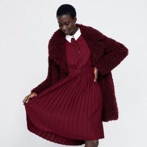 Zara burgundy pleated dress